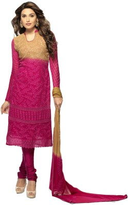 DANEVFASHION Georgette Embroidered Semi-stitched Salwar Suit Material