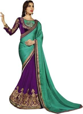 Greenvilla Designs Plain Fashion Satin Sari