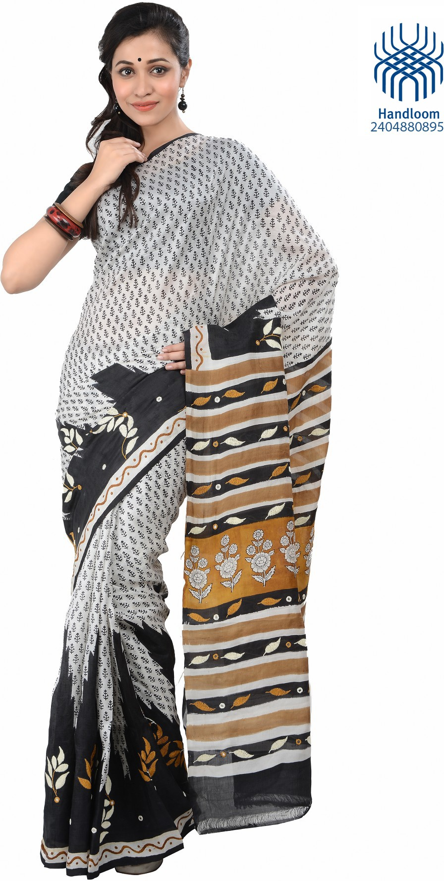 Tantuja Solid Fashion Handloom Silk Saree(Silver, Black)