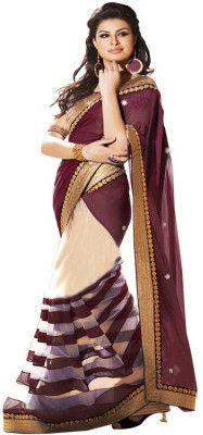 Jhalak Self Design Bollywood Georgette, Net Sari