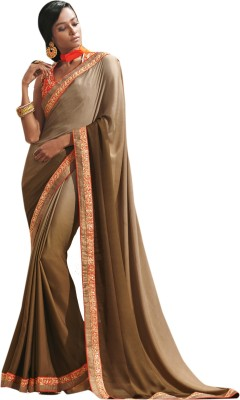 Viva N Diva Solid Fashion Chiffon Saree(Green) at flipkart