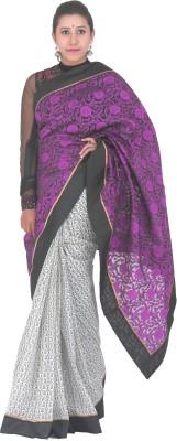 PurpleYou Embriodered Fashion Net Sari