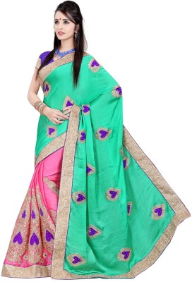 Vani Creations Embriodered Bollywood Handloom Satin Sari