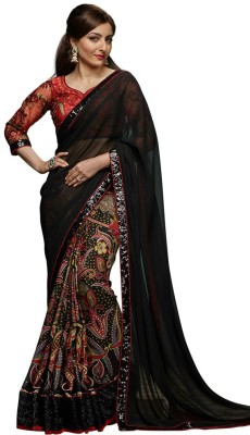 Prabha Creation Printed, Embellished Fashion Georgette Sari