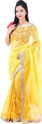 Laxmi Kripa Solid Fashion Handloom Brasso, Net Sari