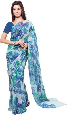 Vichitra Floral Print Fashion Handloom Chiffon Sari