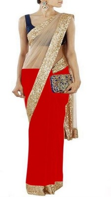 Pushkar Sarees Solid Fashion Georgette, Net Sari