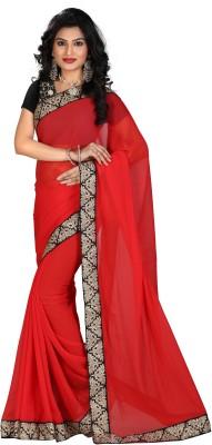 STARLIGHT CLUB Embroidered Fashion Georgette Sari(Red)