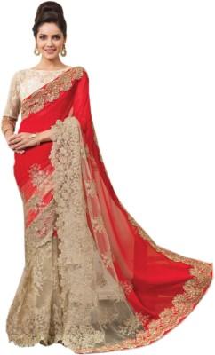 mGm Creation Self Design Bollywood Georgette, Net Sari