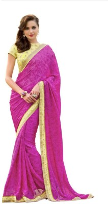 Reet Creation Embriodered Fashion Satin, Chiffon Sari