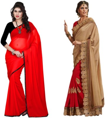 Red Carpet Self Design, Plain, Embriodered Bollywood Net, Georgette, Georgette Sari