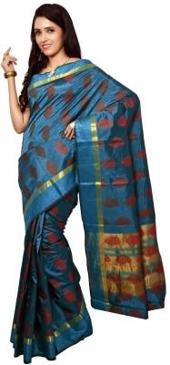 Urban Vastra Floral Print, Woven Mysore Tussar Silk Sari