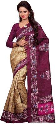 Jay Textile Printed Bhagalpuri Handloom Printed Silk Sari