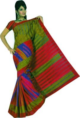 Purple Boat Striped Fashion Pure Crepe Sari