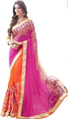 ambey shree trendz Applique Jamdani Georgette Sari