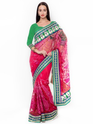 Triveni Self Design Fashion Net Saree(Red) at flipkart