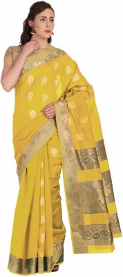 Pratami Floral Print Fashion Handloom Silk Cotton Blend Sari