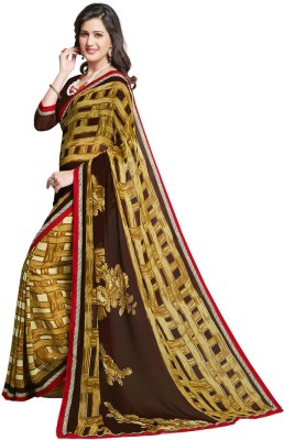 Salwar Studio Floral Print, Checkered, Printed Daily Wear Synthetic Georgette Sari
