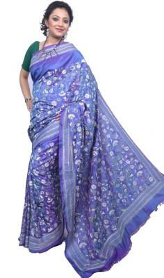 Tanjinas Floral Print, Woven Kantha Handloom Silk Sari