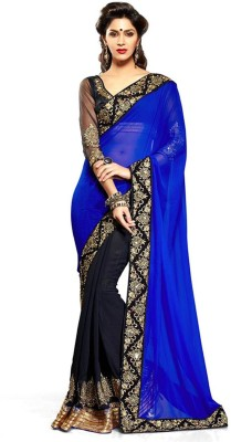 MyDeal Self Design Bollywood Georgette Sari