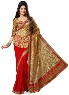Sarovar Sarees Self Design, Embriodered, Embellished, Digital Prints, Checkered Fashion Georgette Sari