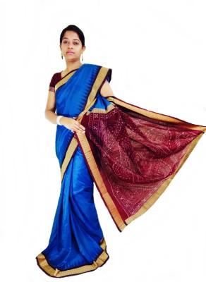 Sambalpur Traditional Self Design, Solid Sambalpuri Handloom Pure Silk Sari