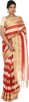Seven Square Striped Banarasi Net Sari