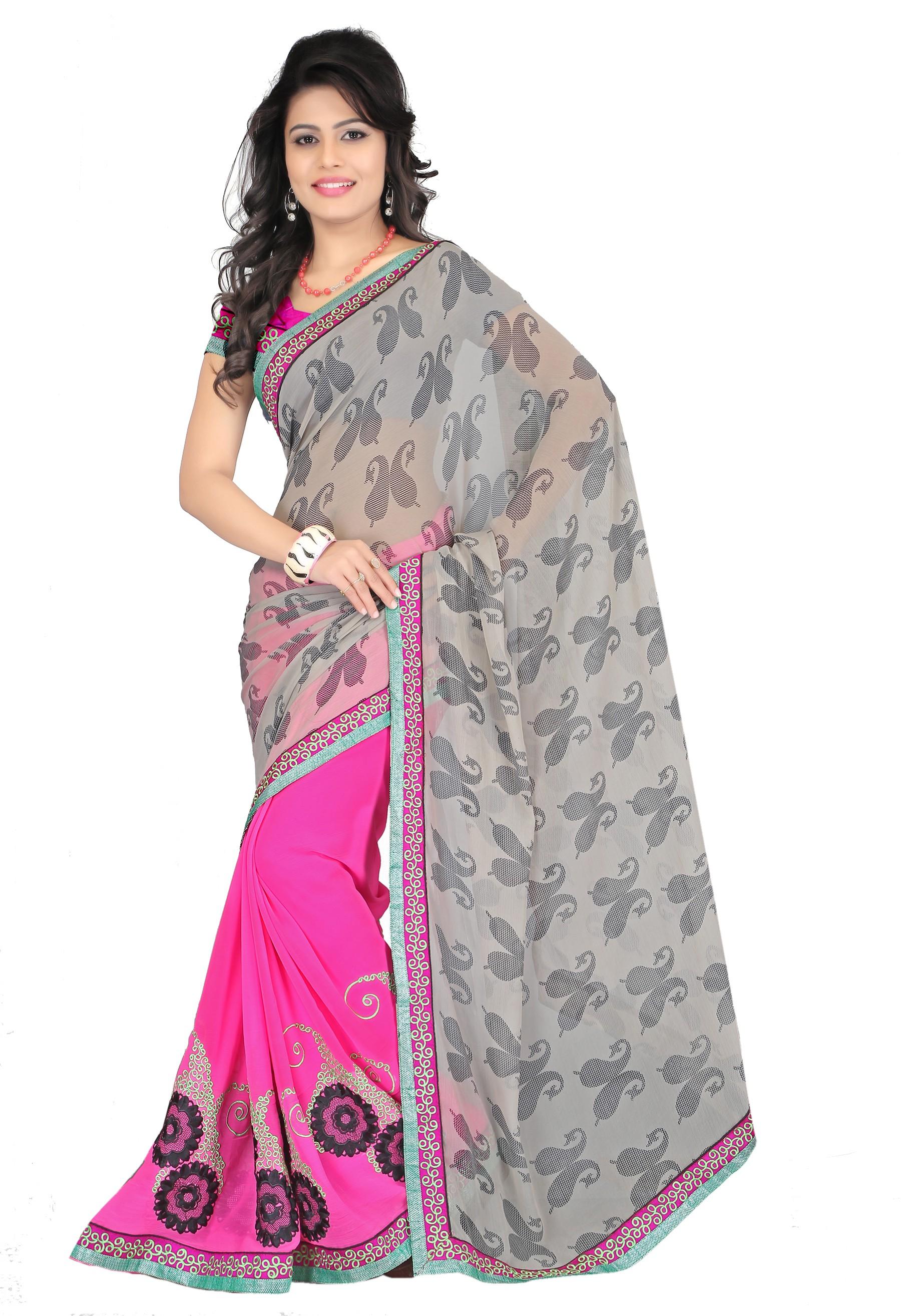 Rudraksh Fashion Embriodered Bollywood Chiffon Sari