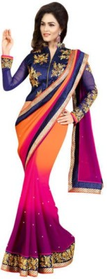 Omfabric Self Design Bollywood Georgette Sari
