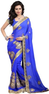 krazzy4looks Embriodered Fashion Georgette Sari