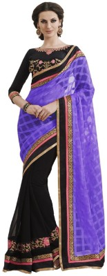 Kanha Fashionna Embriodered Fashion Net Sari