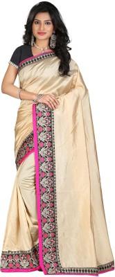 STARLIGHT CLUB Embroidered Fashion Silk Sari(Beige)