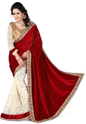 kuvarba fashion Embriodered Bollywood Velvet, Brasso Sari