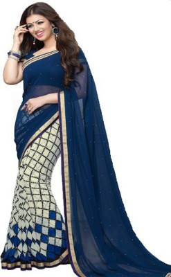 Cozee Shopping Printed Fashion Pure Georgette, Lace Sari
