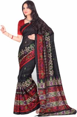 Purple Boat Floral Print Bhagalpuri Silk Cotton Blend Sari