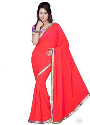 Aanchal Fashion Solid Fashion Georgette Sari