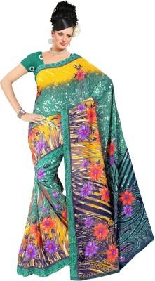 Nandnandan Silk Mills Floral Print Daily Wear Handloom Polyester Sari