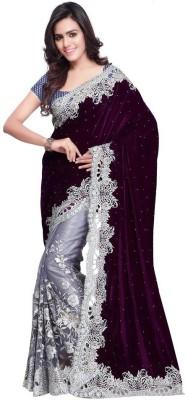 Manjula Fashions Self Design Fashion Velvet, Net Sari