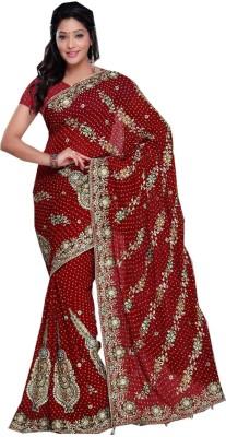Panash Creations Embriodered, Embellished Bandhani Viscose Sari