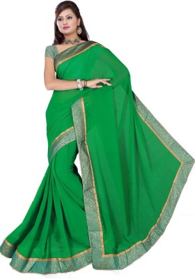 Chirmangal Plain Fashion Synthetic Georgette Sari