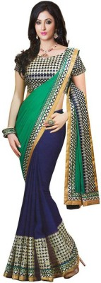 Right Cart Solid, Embellished, Self Design, Embriodered Bollywood Georgette Sari