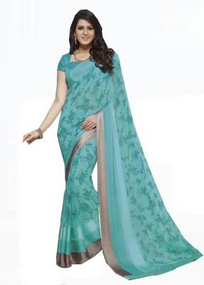 Rajhans Fashion Floral Print, Embellished Fashion Georgette Sari