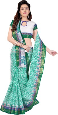 M.S.Retail Printed Gadwal Cotton Saree(Green) at flipkart