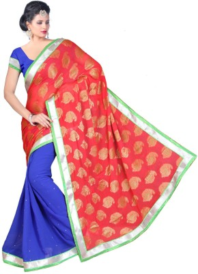 F3 Fashion Polka Print Fashion Chiffon Sari