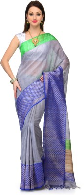 Fabroop Embroidered Banarasi Handloom Tussar Silk Saree(Grey) at flipkart