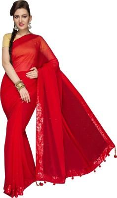 Fashionportfolio Solid Fashion Handloom Chiffon Sari