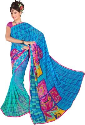 Ratnapriya Sarees Checkered Fashion Synthetic Chiffon Sari