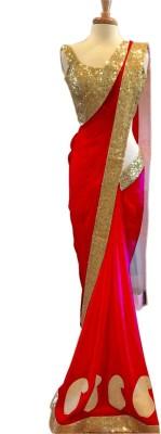 Lime Fashion Self Design Fashion Handloom Georgette Sari