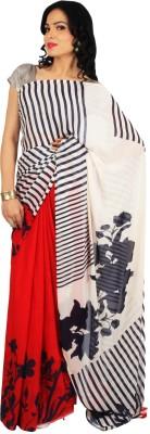 Rama Floral Print, Striped Fashion Georgette Sari