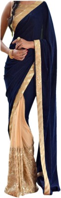 Dertaste Embriodered Fashion Satin, Georgette Sari